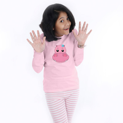 Pink Full Sleeve Girls Pyjama- Baby Hippo